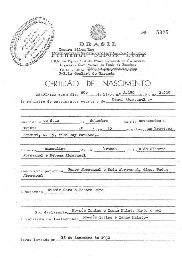 Certidão Silvio Santos